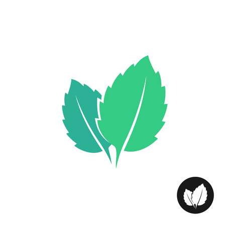 Illustration for Mint leaves vector icon. Two leaves of a mint with one color black version. - Royalty Free Image