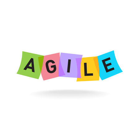 Illustration pour Agile word icon. Agile letters with overlay color square office stickers. Transparency are flattened. - image libre de droit