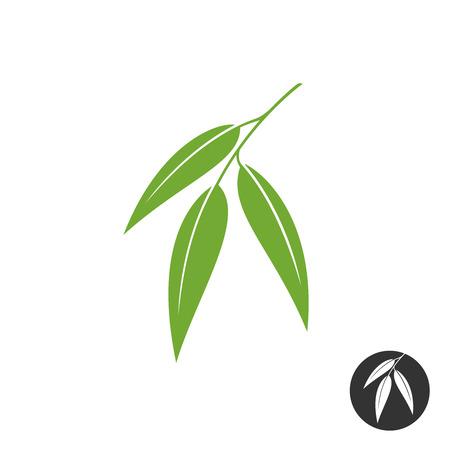 Illustration pour Eucalyptus leaves simple vector silhouette. Green and black color versions. - image libre de droit
