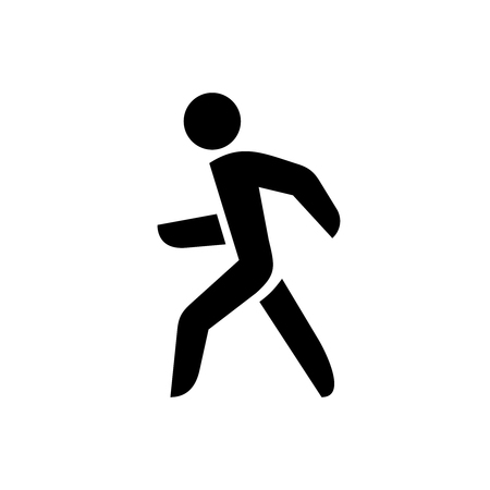 Illustration for Walking man silhouette. On? black color isolated on a white background. - Royalty Free Image