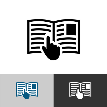 Illustration for Instruction manual icon. Open book pages with text, images and hand pointer cursor symbol. - Royalty Free Image