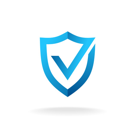 Ilustración de Shield with check mark badge logo. Secure is ok sign. Blue colors. - Imagen libre de derechos