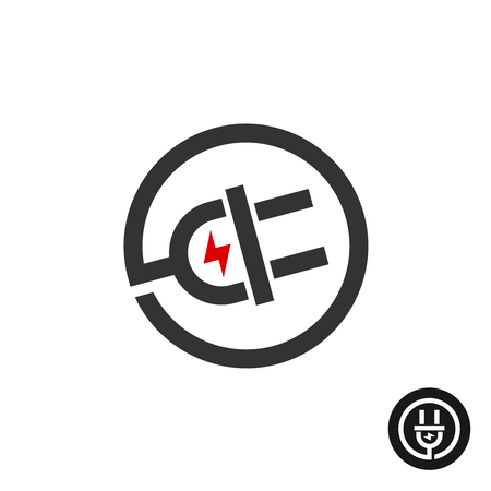 Illustration pour Electric plug in wire icon. Power source logo with flash electricity lightning mark. - image libre de droit