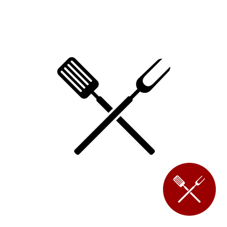 Illustration pour BBQ barbeque tools crossed black simple silhouette. Meat fork with spatula cross. - image libre de droit