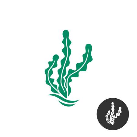 Illustration pour Seaweed vector logo template. One black color monochrome version included. - image libre de droit
