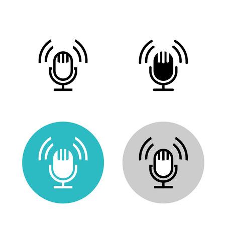 Illustration pour Podcast icon set. Black studio table microphone with sound broadcast waves symbols. Webcast audio record concept logo. - image libre de droit