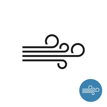 Wind icon. Simple black linear style blow illustration. Wind logo.