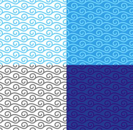 Waves Pattern Set Seamless Curly Linear Waves Pattern