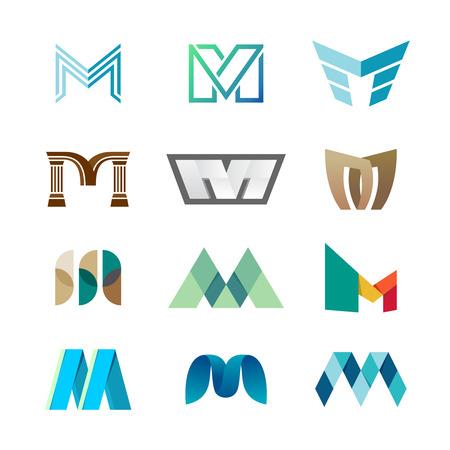 Letter M logo set. Color icon templates design.