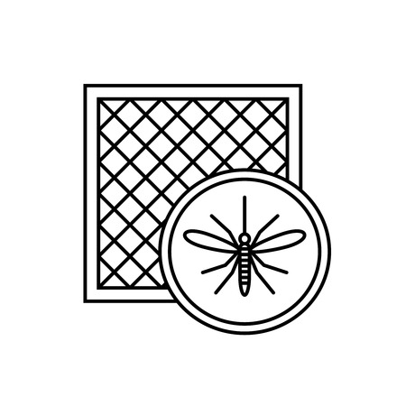 Ilustración de Mosquito net icon with window and mosquito silhouette. - Imagen libre de derechos