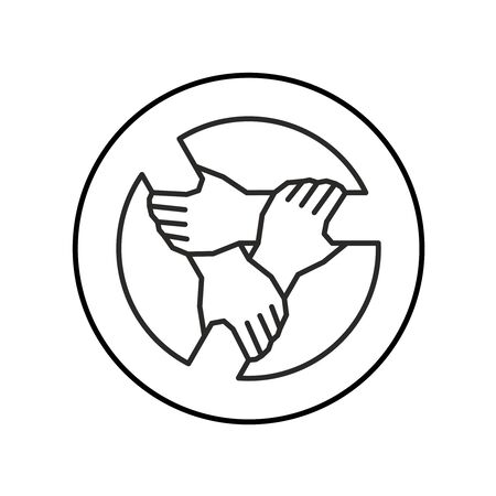 Three hands together support each other outline style. Teamwork, union or cooperation concept sign. 3 people hands holding one by one in a circle. Support symbol. Adjustable stroke width.
