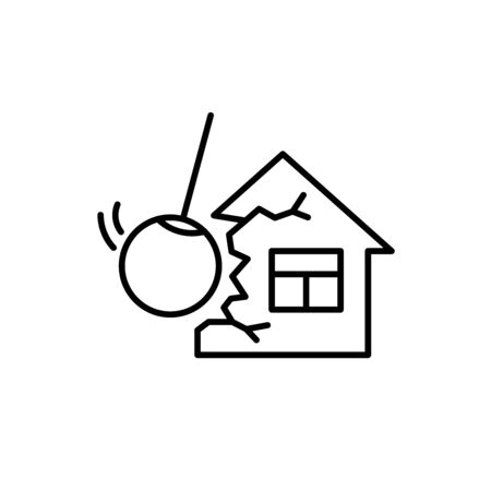 Illustration pour Demolishing house construction with wrecking ball sign. Tear down old building symbol icon. Adjustable stroke width. - image libre de droit