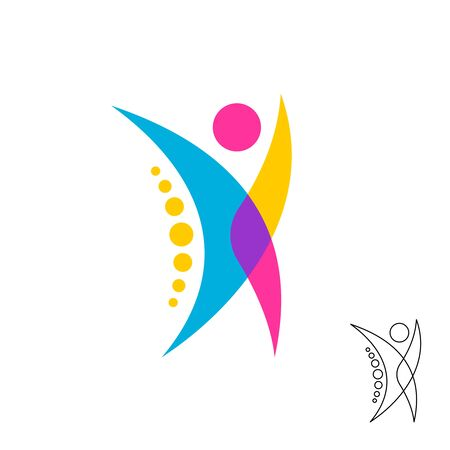 Illustration pour Stylized human figure logo with spine dots symbol. Colorful overlay style chiropractic sign. - image libre de droit