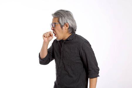 Photo pour The senior Asian man on the white background. - image libre de droit