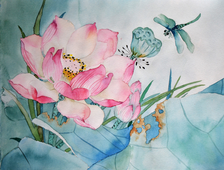 Original watercolor painting of aquatic plants of lotus and dragonfly