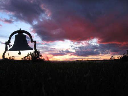 Foto für Dark sunset with old church bell - Lizenzfreies Bild