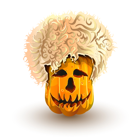Halloween pumpkin in Caucasian sheepskin hat. Jack-o'-lantern for Halloween isolated on white background