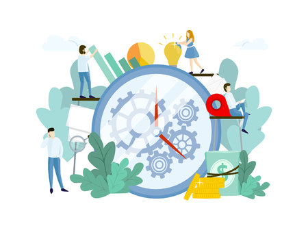 Illustration pour Work process with people, huge clock and gears. Teamwork concept. Vector template for websites - image libre de droit