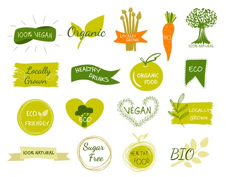 Illustration pour Bio, Ecology, Organic logos and icons, labels, tags. Hand drawn bio healthy food badges, set of raw, vegan, healthy food signs, organic and elements set. - image libre de droit