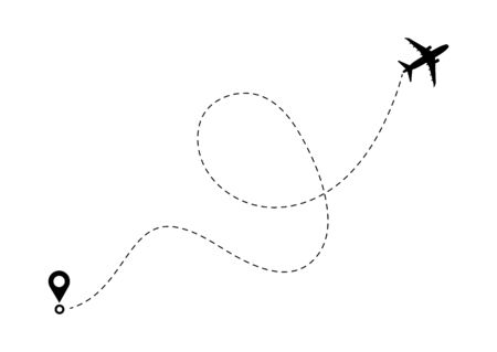 Ilustración de Airplane line path route. Travel vector icon with start point and dash line trace, plane routes flight air dotted drawing isolated illustration. - Imagen libre de derechos