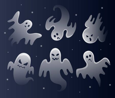 Illustration pour Scary white ghosts. Halloween celebration. Ghostly monster with scary face shape. - image libre de droit