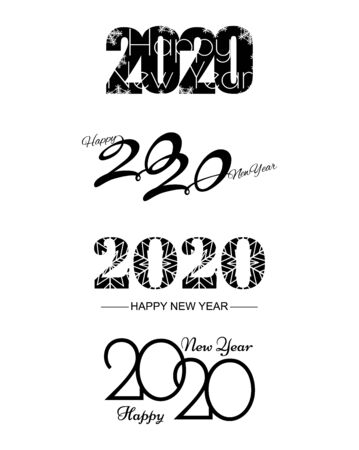 Foto per Set of 2020 text design pattern. Collection of logo 2020 Happy New Year. Vector illustration. Isolated on white background. - Immagine Royalty Free