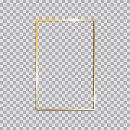 Illustration pour Gold shiny glowing vintage frame with shadows. Golden luxury  realistic rectangle border. Vector illustration - image libre de droit