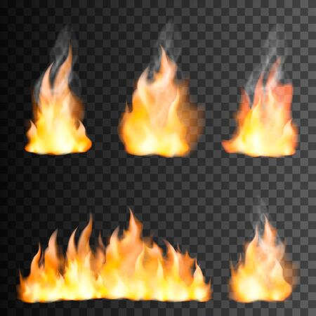 Illustration pour Fire flame realistic set of small and big bright elements on transparen black background isolated vector illustration - image libre de droit