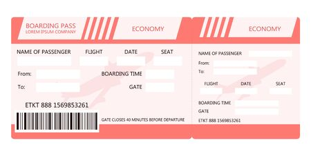 Illustration for Airline ticket or boarding pass for traveling by plane. Vector illustration - Royalty Free Image
