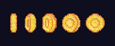 Illustration pour Pixel art coin step by step flipping animation. Pixel game coins animation. Golden pixelated coin animated frames - image libre de droit