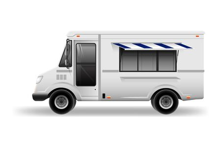 Illustration pour Food truck vector mock-up for car branding and advertising. delivery Van for Brand Identity street cafe and Fast-Food transport advertising - image libre de droit
