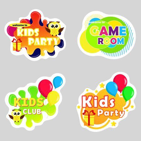 Illustration pour Kids zone vector cartoon . Funny cartoon frames. Bright decoration element for childish party. Sign for children's game room. - image libre de droit