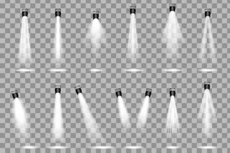 Illustration pour Spotlight shines on the stage. light exclusive use lens flash light effect. Scene illumination collection - image libre de droit