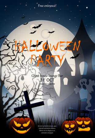 Illustration for Flyer or invitation template for Halloween party.Poster with pumpkin, haunted house, cemetery, ghost and full moon. - Royalty Free Image