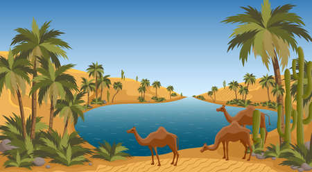 Illustration pour Desert oasis with palms nature landscape scene. Palm trees, pond and sands of Arabia. Egypt hot dunes with palm trees, bedouin and camels - image libre de droit