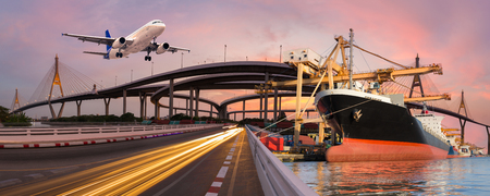 Photo pour Panorama transport and logistic concept by boat plane for logistic Import export background - image libre de droit