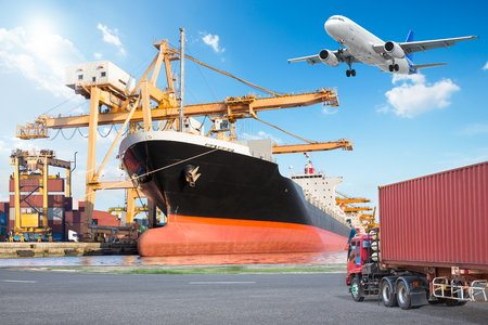 Photo for Container cargo freight ship with working crane loading bridge in port and truck transport container with cargo freight plane in transport for logistic import export concept - Royalty Free Image