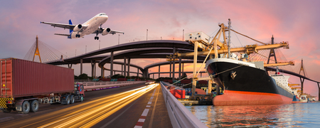Photo pour Panorama transport and logistic concept by truck boat plane for logistic Import export background - image libre de droit