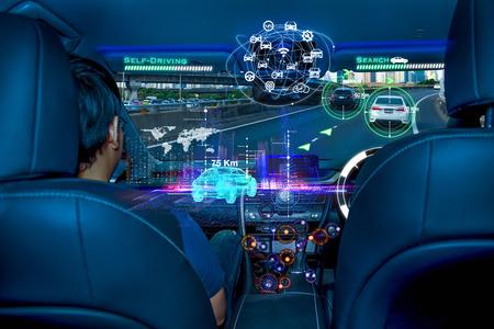 Photo pour Autonomous car with passengers, Future technology smart car concept - image libre de droit