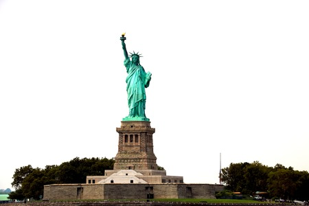 NEW YORK, USA - August 31, 2018: The Statue of Liberty on Liberty Island in New York Harbor, USA. It was designed by French sculptor Fr d ric Auguste Bartholdi and built by Gustave Eiffel