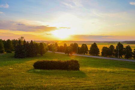 Photo pour Colorful landscape photo in clear green and blue nature - image libre de droit