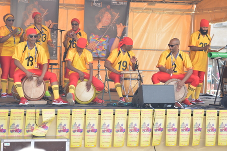 LE MANS, FRANCE - APRIL 22, 2017: Festival Evropa jazz Musicians dress with costumes and playing drums Caribbean music