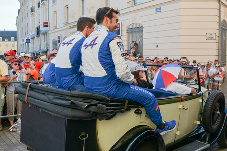 LE MANS, FRANCE - JUNE 16, 2017: Team of Alpine A470 - Gibson of Signatech Alpine Matmut driven by P. Ragues A. Negrao N. Panciatici at a parade of pilots racing 24 hours of Le mans