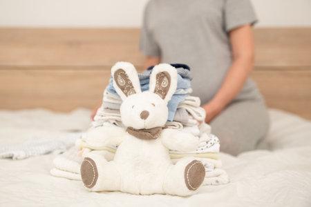 Photo pour Pile of baby clothes, rabbit and pregnant woman - image libre de droit
