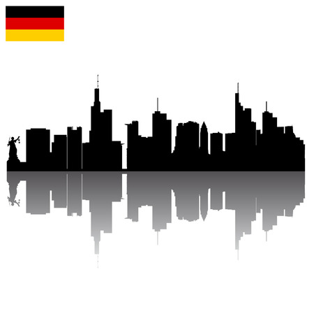 Black detailed vector silhouettes of Frankfurt with German flag