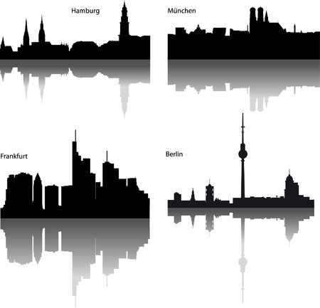 Black vector silhouettes of German town