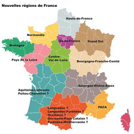 New French regions. Nouvelles regions de France. Separated departments