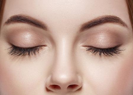 Beautiful woman eyes closed