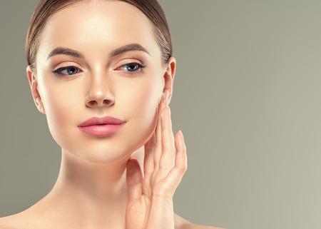 Foto per Eye mask patch cosmetic female woman face healthy skin. Studio shot. - Immagine Royalty Free