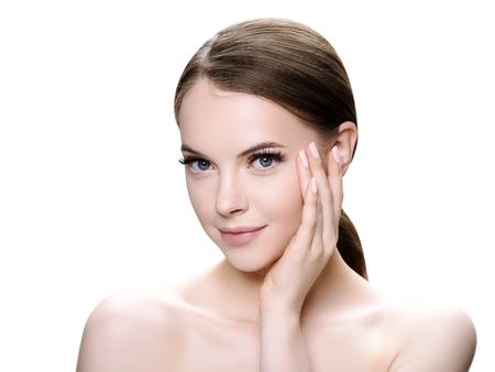 Foto de Beautiful woman face with eyelashes beauty healthy skin natural makeup. Studio shot. - Imagen libre de derechos